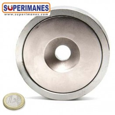 Imán en recipiente taladro avellanado. Base magnetica 98mm. IRA-98