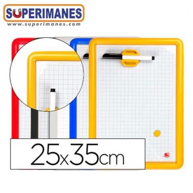 Pizarra-blanca-25x35cm-magnetica-PVC-con-rotulador-borrador-iman
