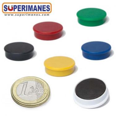 Imanes para pizarras magneticas 20 mm colores, ferrita