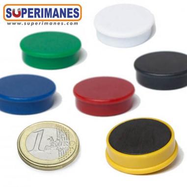 Imanes para pizarras magneticas 25 mm en colores, ferrita