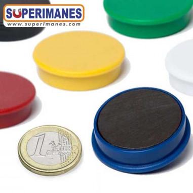 Imanes para pizarras magneticas 35mm en colores, ferrita