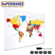 Tablero magnético mapa mundo 60x40cm colores