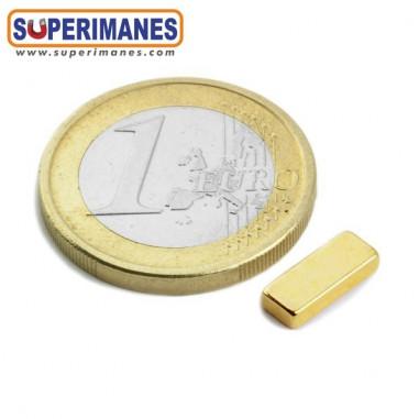 Imán de neodimio 10x4x2mm Dorado fuerza 1,1kg.